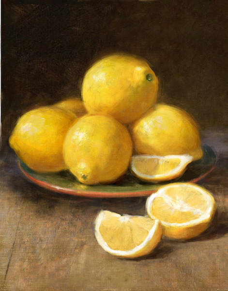 Still Life Wall Art - Painting - Lemons by Robert Papp