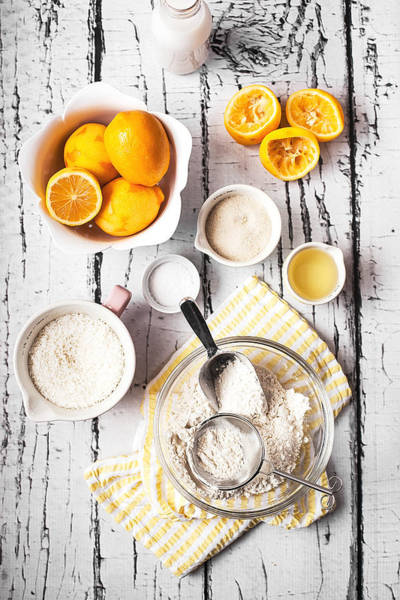 Lemon Photograph - Lemons, Sugar And Flour Bowl by One Girl In The Kitchen