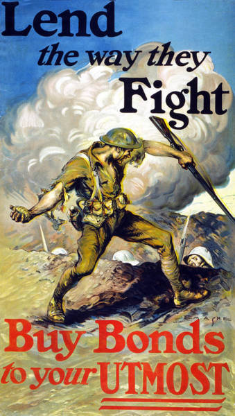 Grenade Wall Art - Drawing - Lend The Way They Fight, 1918 by Edmund Ashe
