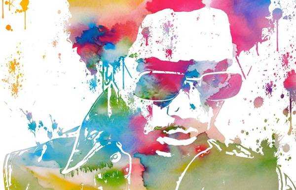 Wall Art - Mixed Media - Lenny Kravitz Paint Splatter by Dan Sproul