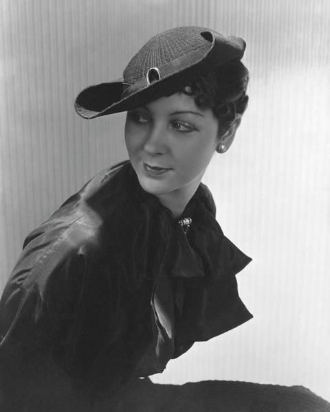 Sun Hat Photograph - Lenore Pettit Wearing A Straw Hat by Lusha Nelson