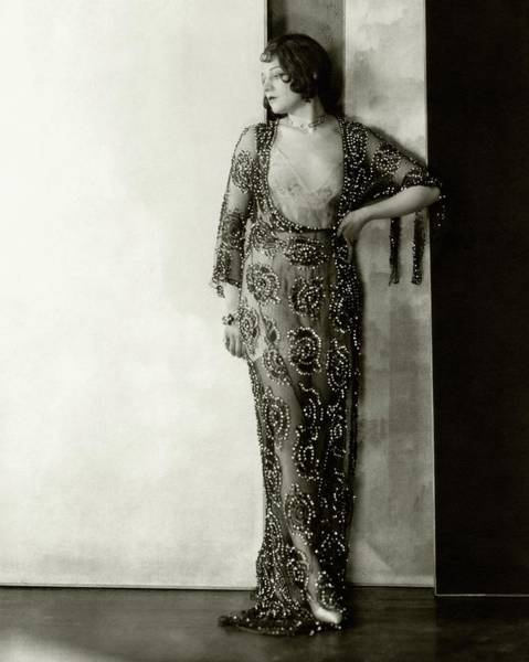 Photograph - Lenore Ulric Wearing A Beaded Dress by Charles Sheeler