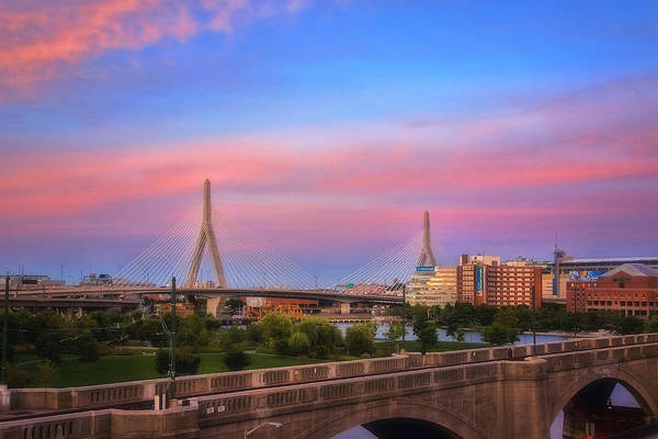 Photograph - Leonard P Zakim Bridge Sunset by Joann Vitali