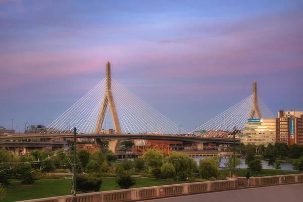 Leonard Photograph - Leonard P Zakim Memorial Bridge Sunset by Joann Vitali