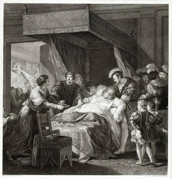 Wall Art - Photograph - Leonardo Da Vicni On His Deathbed by Library Of Congress