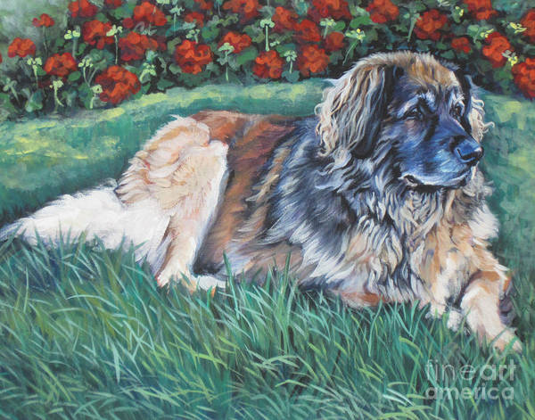 Red Geraniums Wall Art - Painting - Leonberger by Lee Ann Shepard