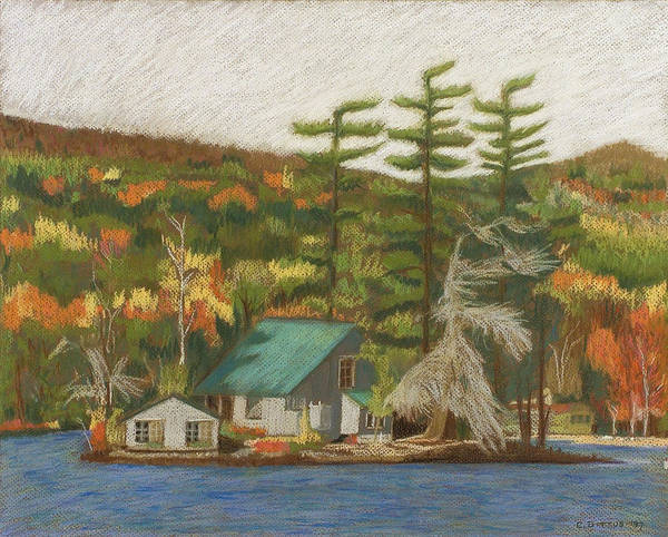 Adirondack Mountains Painting - Leontine Island by Chrissey Dittus