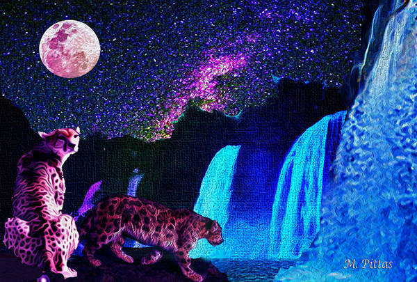 Black Panther Mixed Media - Leopard/chetah  In The Moonlight by Michael Pittas
