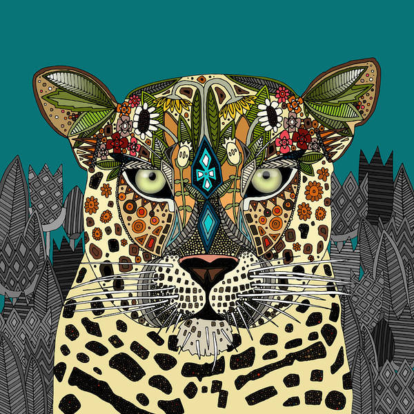 Wall Art - Drawing - Leopard Queen Teal by MGL Meiklejohn Graphics Licensing