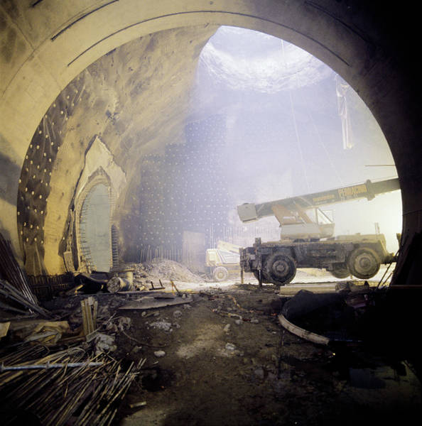 Particle Accelerator Wall Art - Photograph - Lep Accelerator Tunnel Construction by Cern/science Photo Library