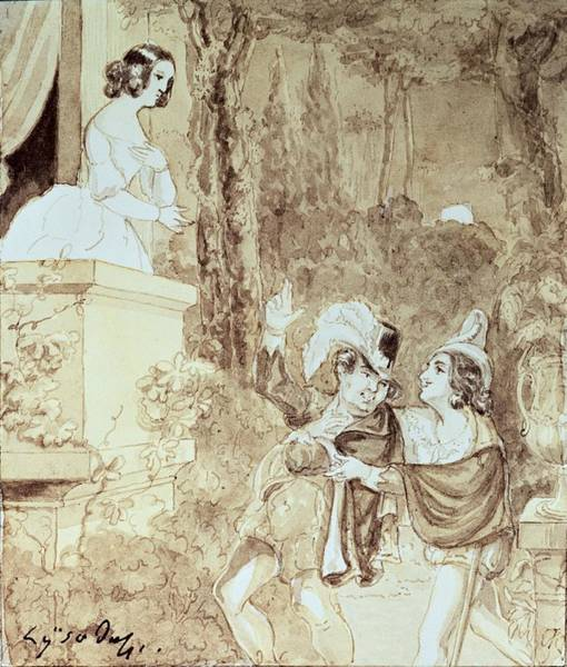 Wall Art - Photograph - Leporello Serenading Elvira In The Guise Of Don Giovanni Don Juan Who Stands Behind Him, Act II by Austrian School