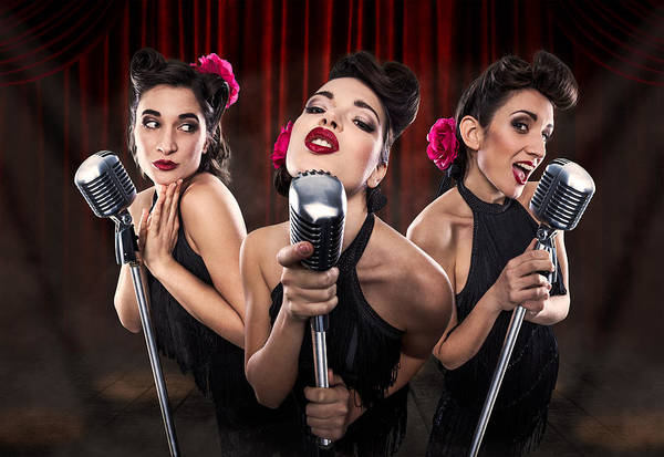 Microphone Photograph - Les Babettes - Turbo Swing Trio by Cosimo Barletta