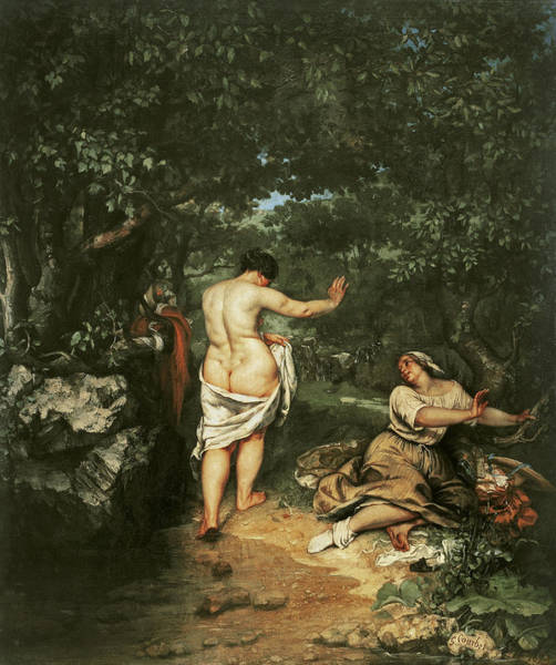 Bare Bottom Painting - Les Baigneuses by Gustave Courbet