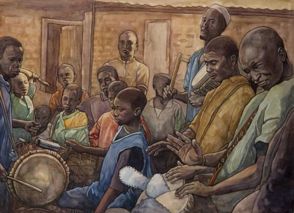 Djembe Wall Art - Painting - Les Batteurs I by Dave Kobrenski