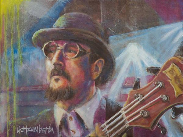 Bass Guitar Painting - Les Claypool by Josh Hertzenberg