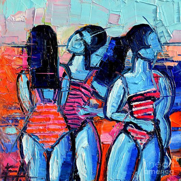 Abstrait Wall Art - Painting - Les Demoiselles De Deauville by Mona Edulesco