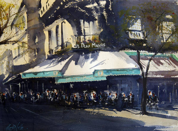 Wall Art - Painting - Les Deux Magots by James Nyika