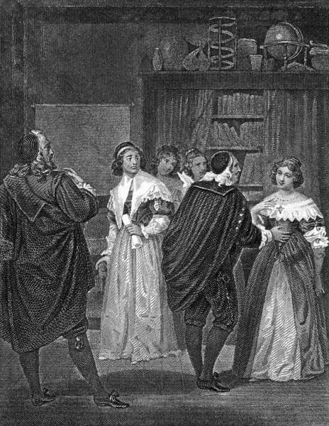 Wall Art - Drawing - 'les Femmes Savantes' Act Three, Scene by Mary Evans Picture Library