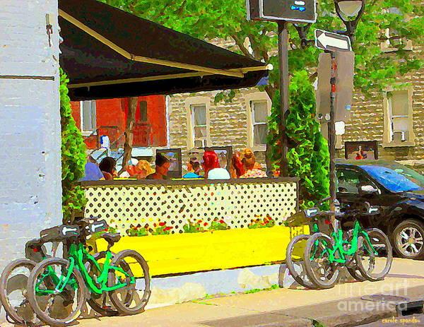 Painting - Les Folies De Montreal Cafe Resto Lounge Paris Style Bistro City Scene Carole Spandau by Carole Spandau