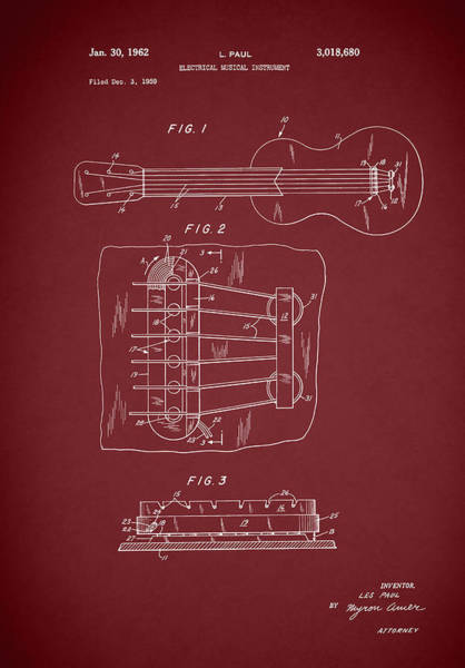 Wall Art - Photograph - Les Paul Guitar Patent 1962 by Mark Rogan