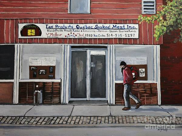 Pointe St Charles Painting - Les Produits Quebec Smoked Meat Inc by Reb Frost
