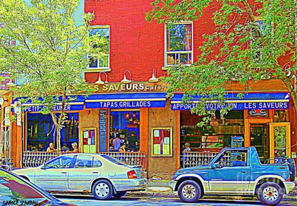 Painting - Les Saveurs Tapas Grillades Apportez Votre Vin Montreal Cafe Art Scene By Carole Spandau by Carole Spandau