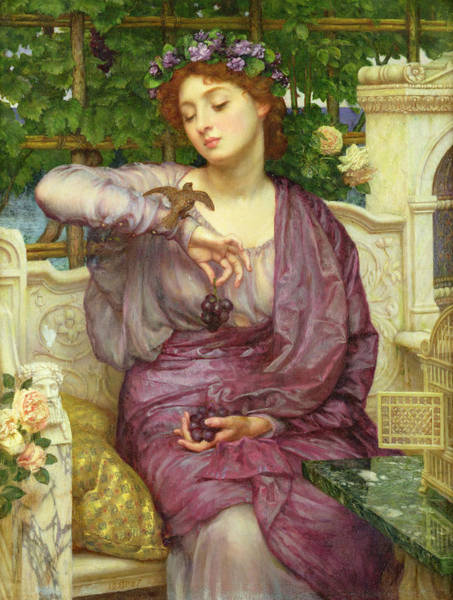 Wall Art - Painting - Lesbia And Her Sparrow by Sir Edward John Poynter