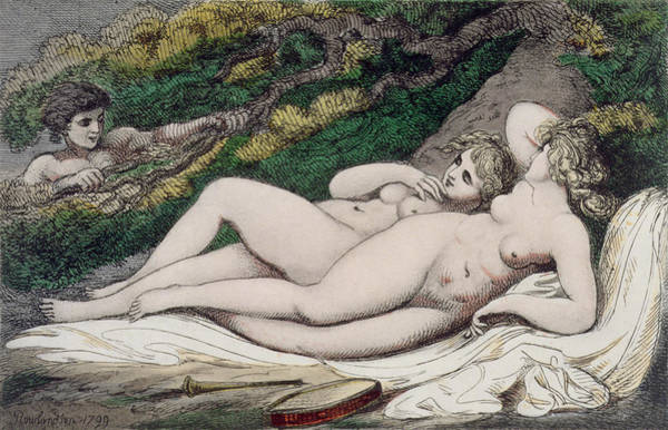 Sensual Drawing - Lesbian Lovers In A Wood by Thomas Rowlandson