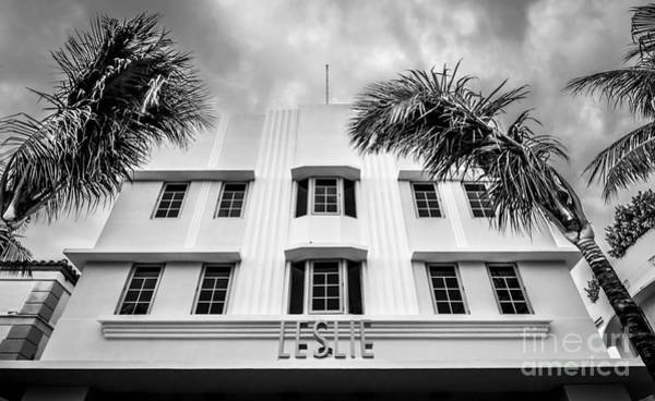 1920s Photograph - Leslie Hotel South Beach Miami Art Deco Detail - Black And White by Ian Monk