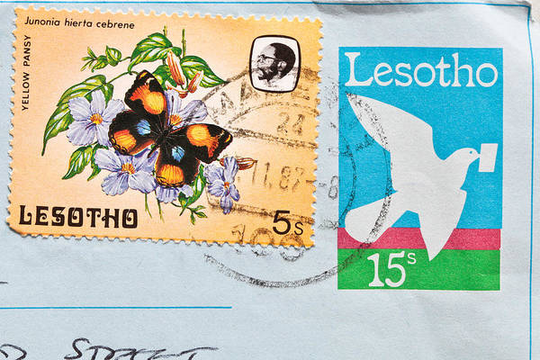 Envelop Wall Art - Photograph - Lesotho Stamp by Tom Gowanlock