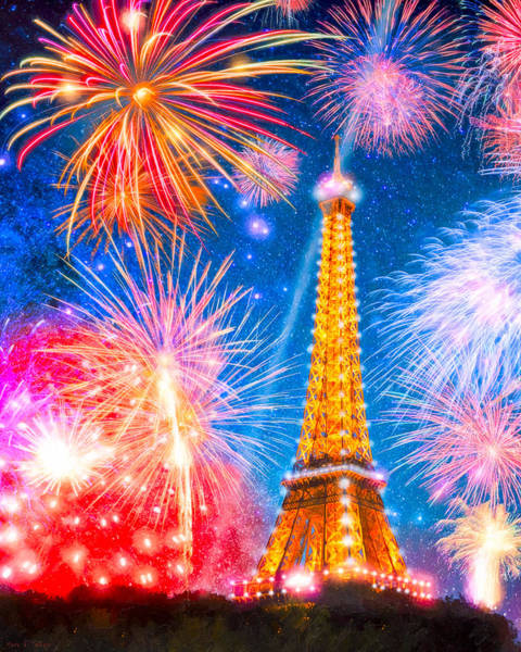 Photograph - L'esprit De Paris - Eiffel Tower Fireworks by Mark E Tisdale