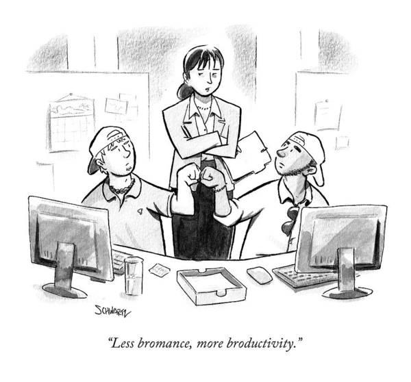 Friendship Drawing - Less Bromance by Benjamin Schwartz