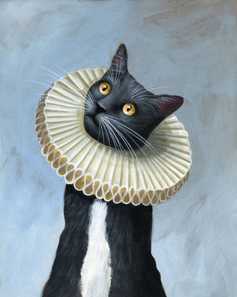 Tuxedo Cat Painting - Less Is More ... Tuxedo Cat Art Painting by Amy Giacomelli