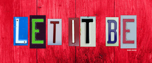 Let It Be Wall Art - Mixed Media - Let It Be License Plate Letter Vintage Phrase Word Artwork On Red Wood by Design Turnpike