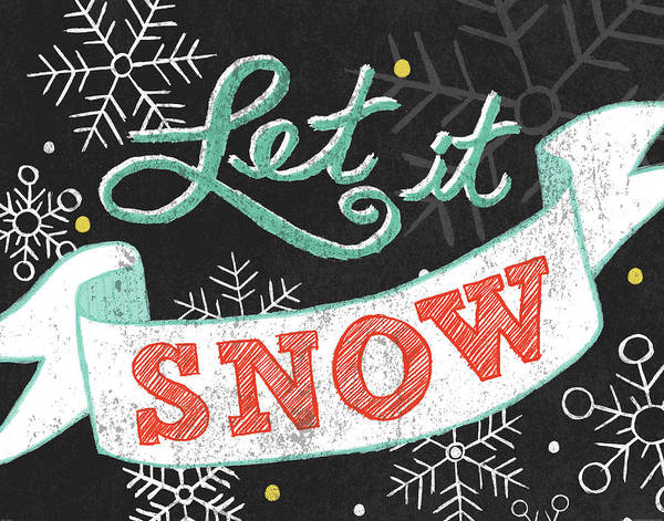 Winter Holiday Painting - Let It Snow Black by Mary Urban
