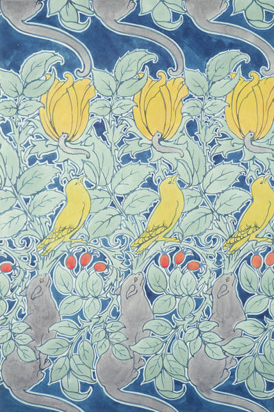 Canaries Painting - Let Us Prey Wallpaper by Charles Francis Annesley Voysey