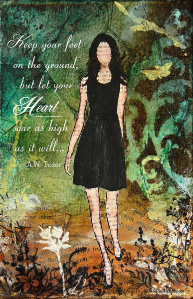 Bible Verse Mixed Media - Let Your Heart Soar by Janelle Nichol
