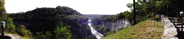 Photograph - Letchworth Genesee River And 2 Falls Panorama Oil Painting Effect by Rose Santuci-Sofranko