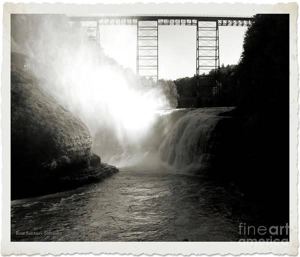 Photograph - Letchworth Upper Falls In Platinum by Rose Santuci-Sofranko