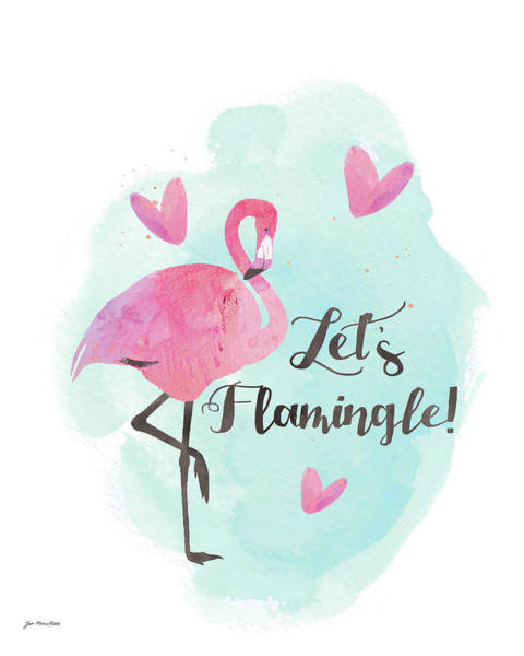 Flamingo Watercolor Painting - Let's Flamingo by Jo Moulton