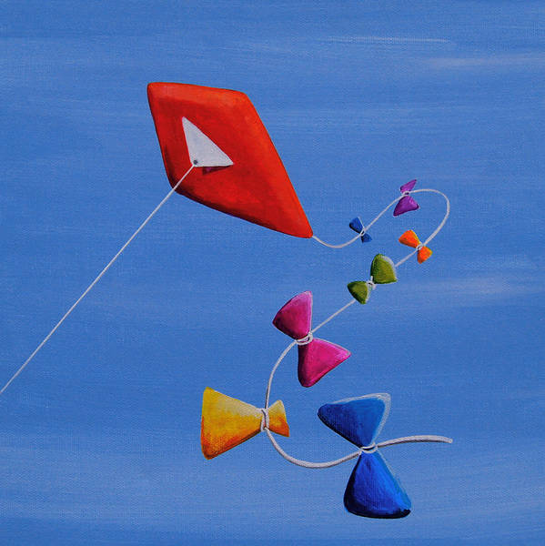 Bow Painting - Let's Go Fly A Kite by Cindy Thornton