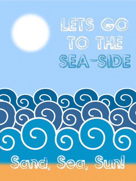 Wall Art - Digital Art - Lets Go To The Sea-side Minimalist Poster by Celestial Images