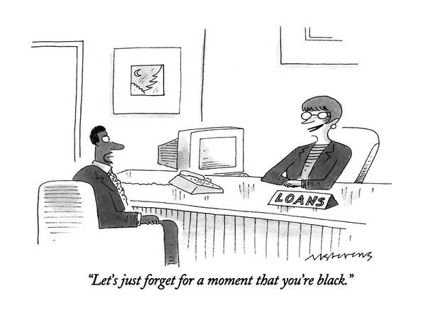 Apply Drawing - Let's Just Forget For A Moment That You're Black by Mick Stevens