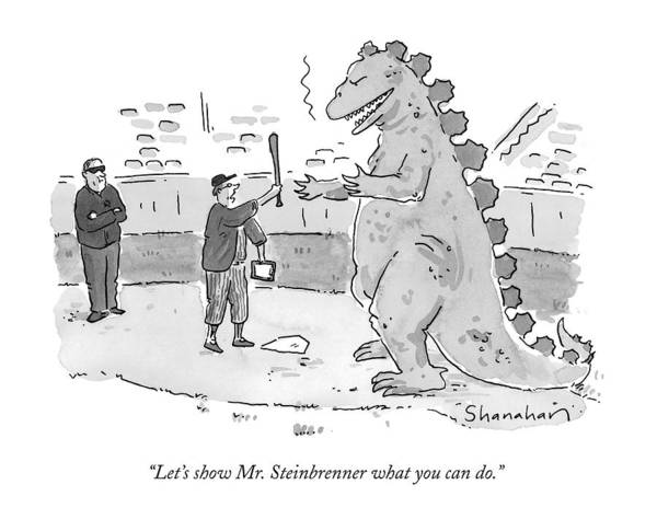 Dinosaurs Drawing - Let's Show Mr. Steinbrenner What You Can Do by Danny Shanahan