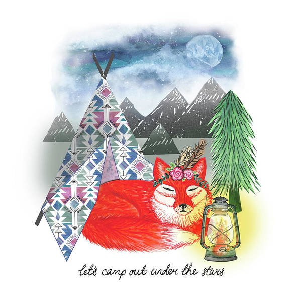 Wall Art - Painting - Lets Sleep Under The Stars Fox And Teepee Design.jpg by MGL Meiklejohn Graphics Licensing