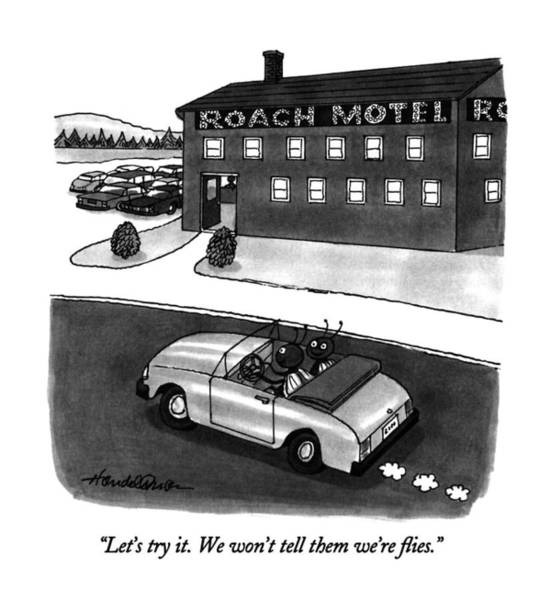 Hotel Drawing - Let's Try It.  We Won't Tell Them We're Flies by J.B. Handelsman