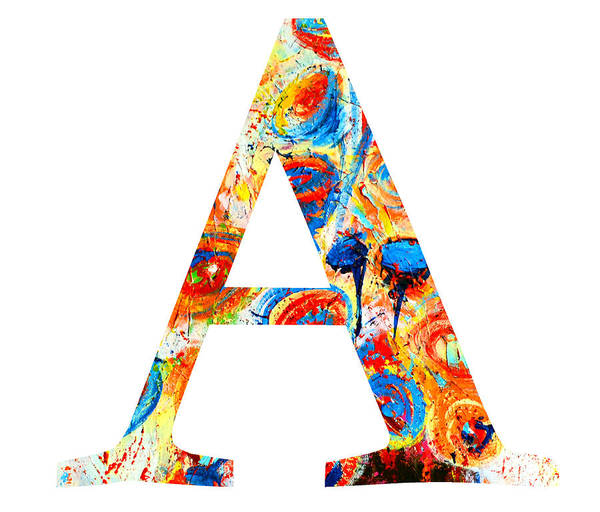 Painting - Letter A Alphabet Abstract Design by Patricia Awapara