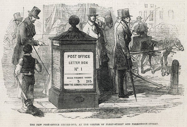 Wall Art - Drawing - Letter Box The First Post Office Letter by  Illustrated London News Ltd/Mar