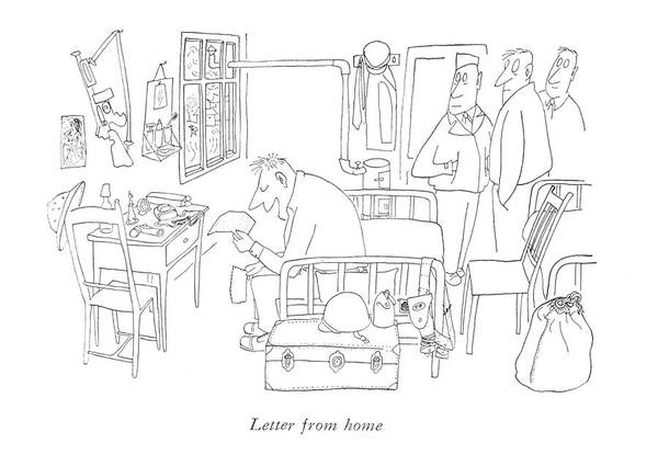 South Island Drawing - Letter From Home by Saul Steinberg