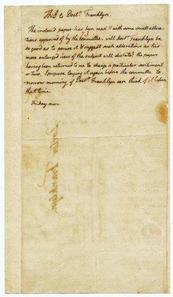 Drafting Photograph - Letter From Jefferson To Franklin by American Philosophical Society